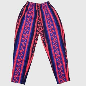 Weekends Pants & Jumpsuits - VTG Mutli-Colored 1980's Cotton Joggers